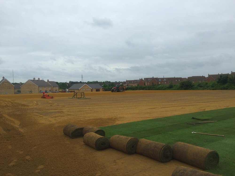600mm 'Big Roll' turf is laid to get the facilities in full use for the community in time for the completion of the housing development.