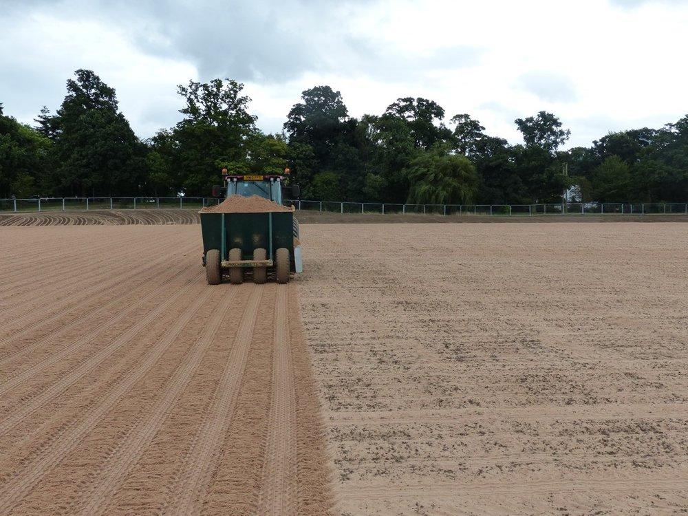 The pitches and surrounds are cultivated prior to seeding.