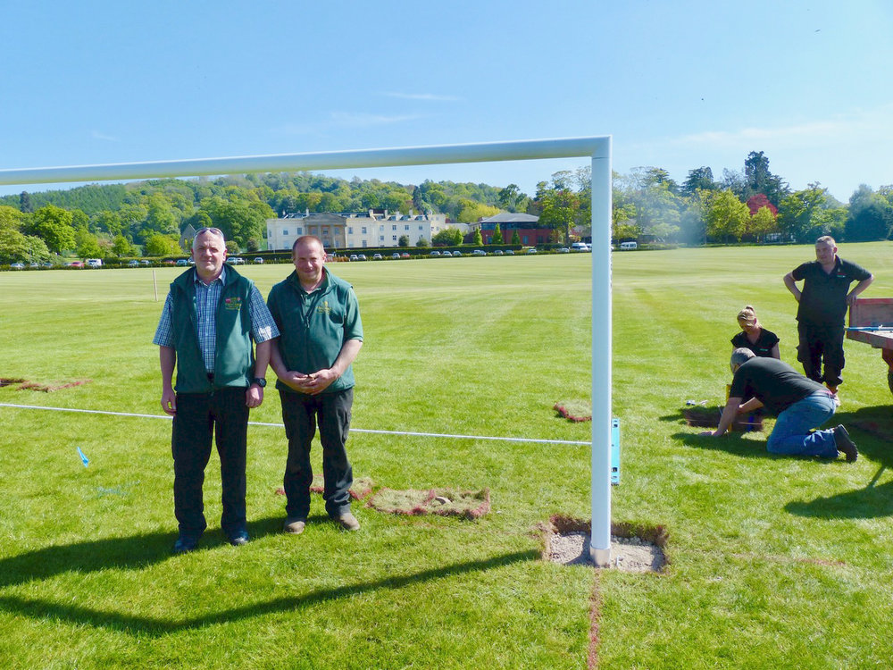 Concord College Head Groundsman Paul Humphreys, with his Assistant Mark.