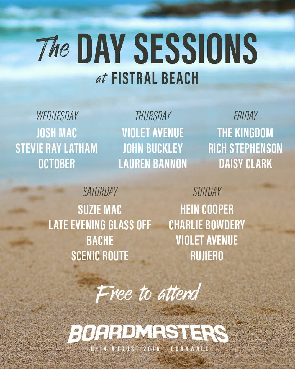 www.boardmasters.com  Can you believe it, my name is on an INTERNATIONAL MUSIC FESTIVAL POSTER!!!!!