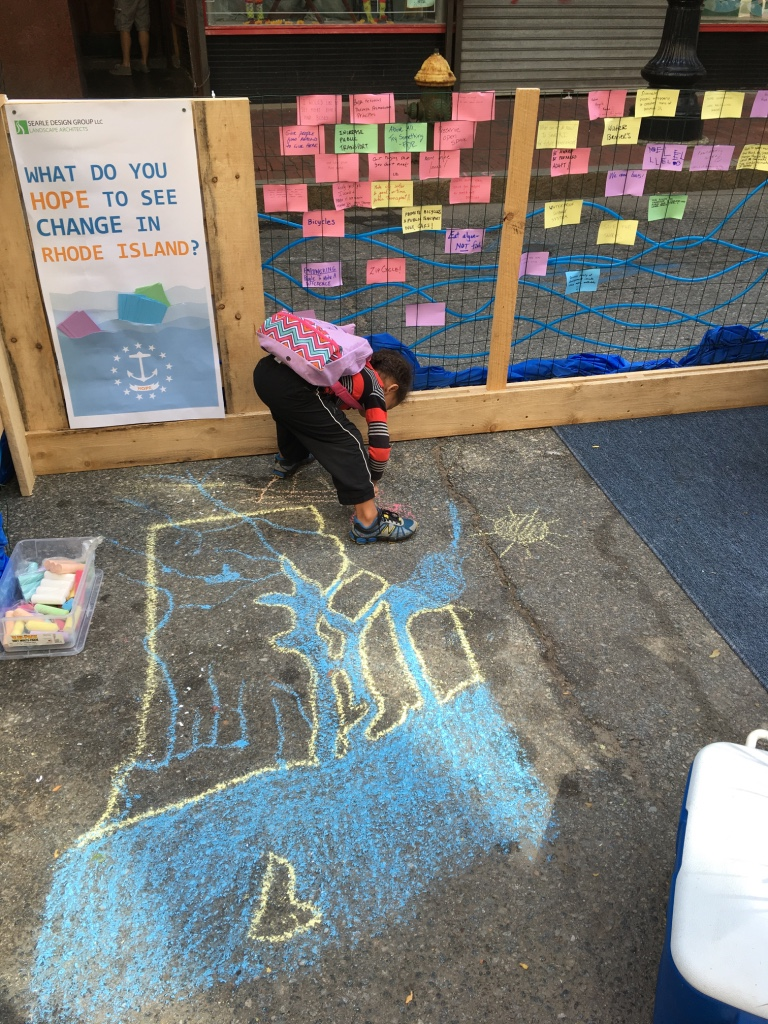 A future landscape architect participating in our installation about Sea Level Rise for PARK(ing) Day last fall.