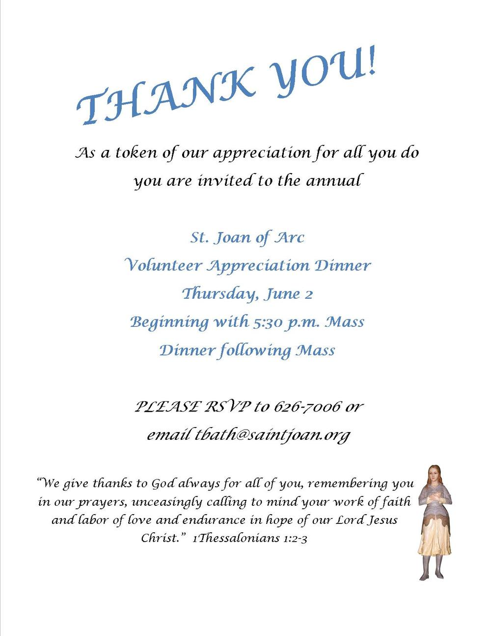 Volunteer Appreciation Dinner Saint Joan of Arc Catholic Church