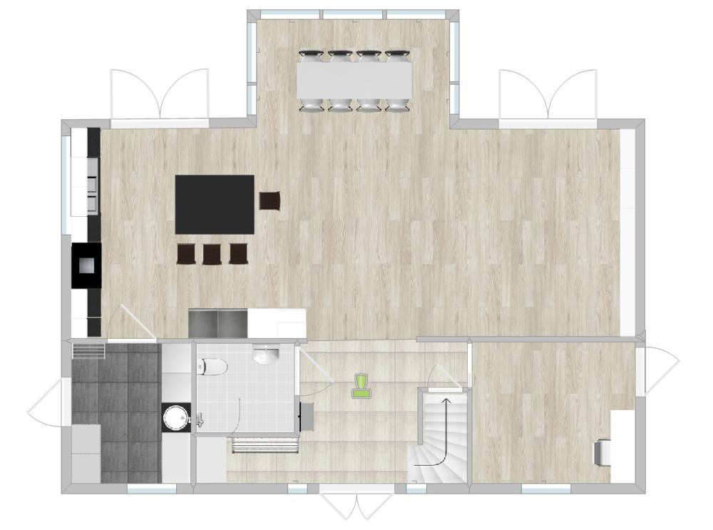 Vi vill gärna ha skjutdörrar mellan groventré och kök + mellan huvudentré och gästrum, men troligen går det inte på just de väggarna. Vi väntar dock på definitivt besked!