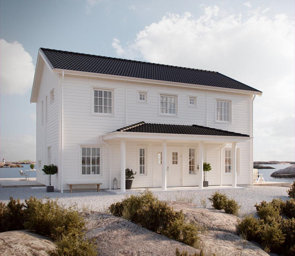 Liggande träpanel. Just det här huset liknar det vi ska bygga. Foto: pressbild från  Myresjöhus .