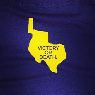 """On this day, 181 years ago, William Travis penned his famous """"Victory or Death"""" letter from the Alamo. Travis' gritty eloquence in the face of insurmountable odds continues to inspire Texans almost two centuries later. Our first t-shirt was dedicated to his letter which captures the spirit of Texas. Today, just like Travis, 181 years ago, we're damn proud to be Texans.  To the People of Texas & All Americans in the World-  Fellow Citizens & compatriots-  I am besieged, by a thousand or more of the Mexicans under Santa Anna - I have sustained a continual Bombardment & cannonade for 24 hours & have not lost a man - The enemy has demanded a surrender at discretion, otherwise, the garrison are to be put to the sword, if the fort is taken - I have answered the demand with a cannon shot, & our flag still waves proudly from the walls - I shall never surrender or retreat.  Then, I call on you in the name of Liberty, of patriotism & everything dear to the American character, to come to our aid, with all dispatch - The enemy is receiving reinforcements daily & will no doubt increase to three or four thousand in four or five days.  If this call is neglected, I am determined to sustain myself as long as possible & die like a soldier who never forgets what is due to his own honor & that of his country - Victory or Death.  William Barret Travis.  Lt. Col.comdt."""