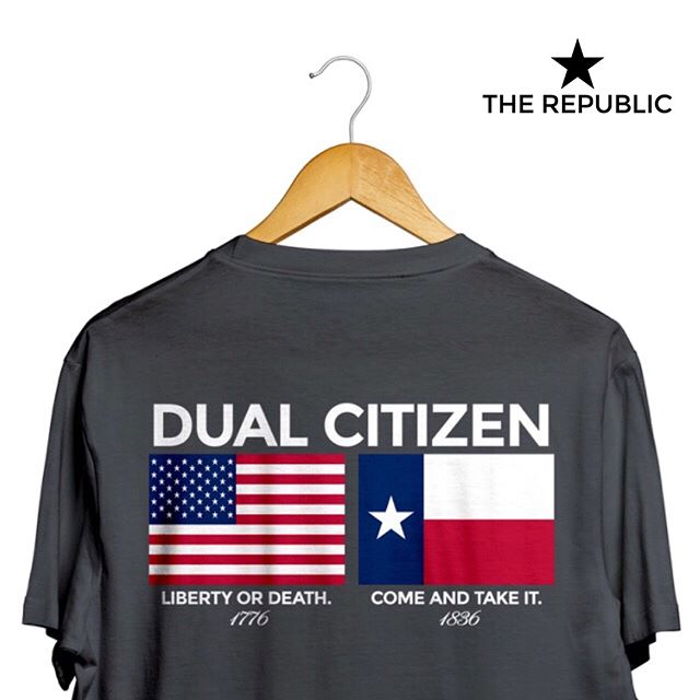#DualCitizen  n. 1. The status of an individual who is a citizen of two or more nations. 2. American by birth. Texan by the grace of God.  The perfect shirt for Fourth of July. Order today and claim your #DualCitizenship! Link in profile.