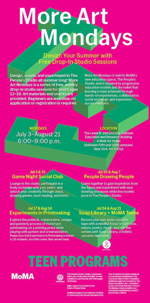 Soap Library teamed up with  MoMA Teens  to present two cassette-making workshops on July 24 and August 21, 2017 as part of More Art Mondays. The workshop lead students through the cassette-making process while paying mindful attention to the five senses. Find out more about the workshop  here  and read through our  pamphlet  for an overview of our curriculm.   Soap Library x MoMA Teens workshops are organized by Rachel Barnhart, Jonathan Campolo, Kerry Santullo, and Kaitlyn Stubbs with guest artists Jacob Becker and Sarah Kinlaw .