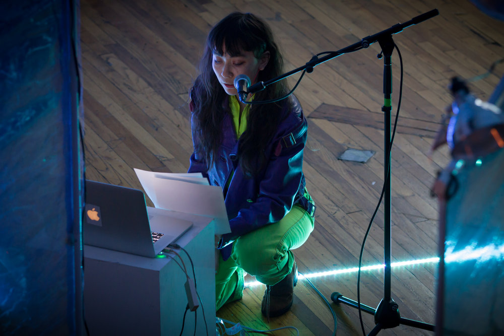Emily Shinada at Outpost Artist Resources, March 10, 2018. Photo by Wolfgang Daniel.