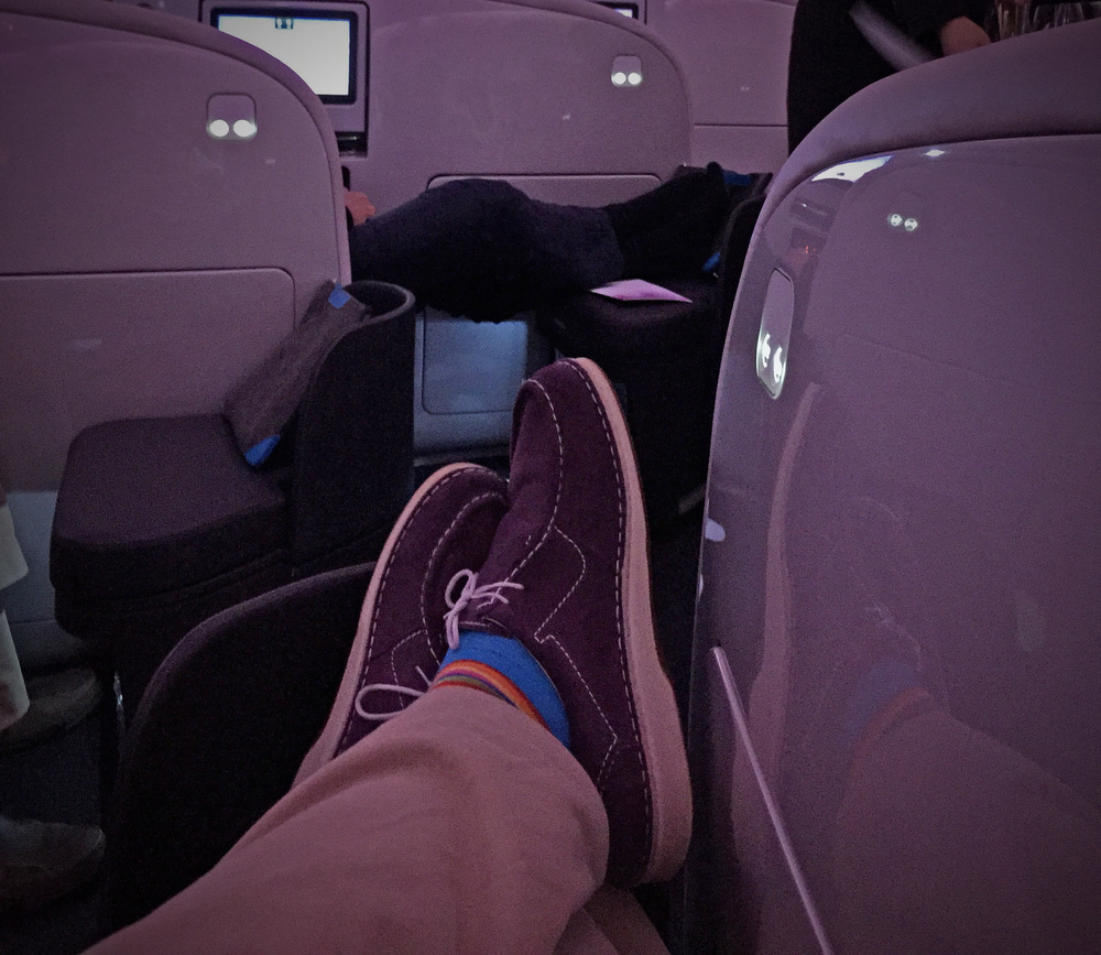 John Walton's signature purple shoes, on board Air New Zealand's Business Premier.