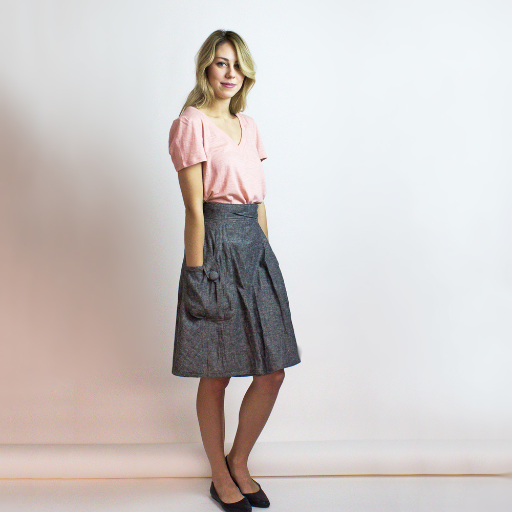 Oversized organic cotton V neck tee & Heartland eco denim skirt - Simone's Rose SS'16 collection.  Shop our  Heartland skirt here.