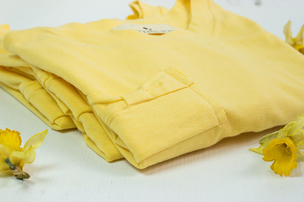 Bow pocket tee in Mango Yellow bamboo featherweight jersey.  Click it to shop it!