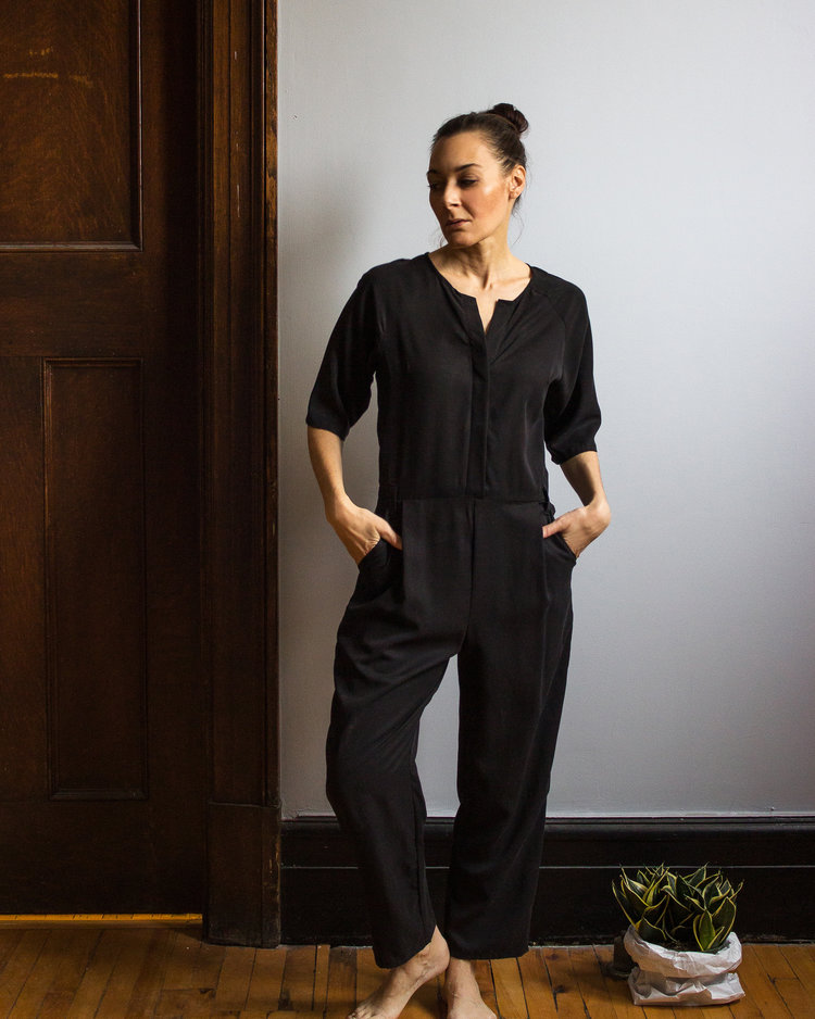 fb50fa121dde Black London Jumpsuit - Elbow sleeve — Simone s Rose
