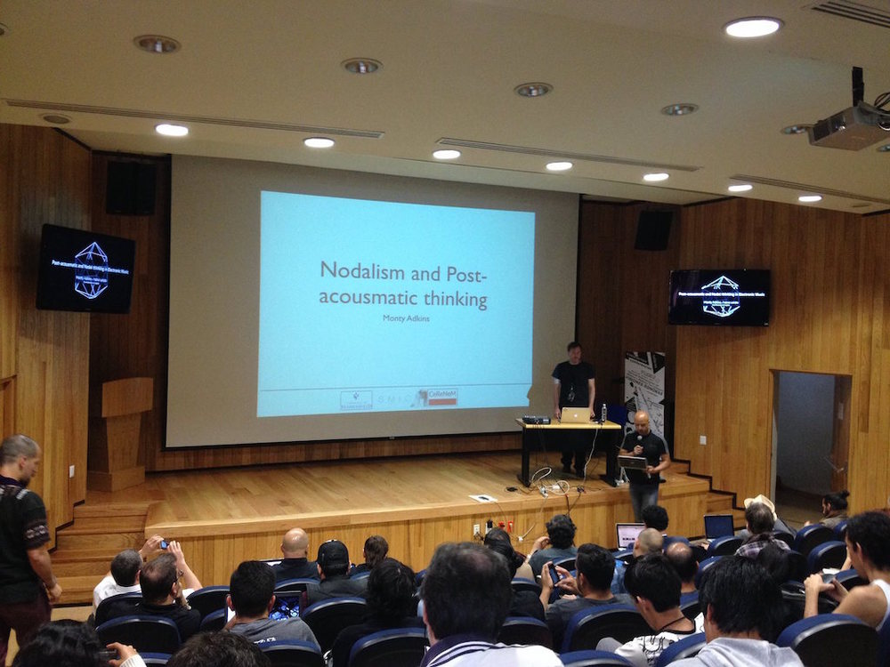 [Prof Monty Adkins delivers his lecture, Nodalism and Post-Acousmatic Thinking, at the University of Mexico, Morelia]