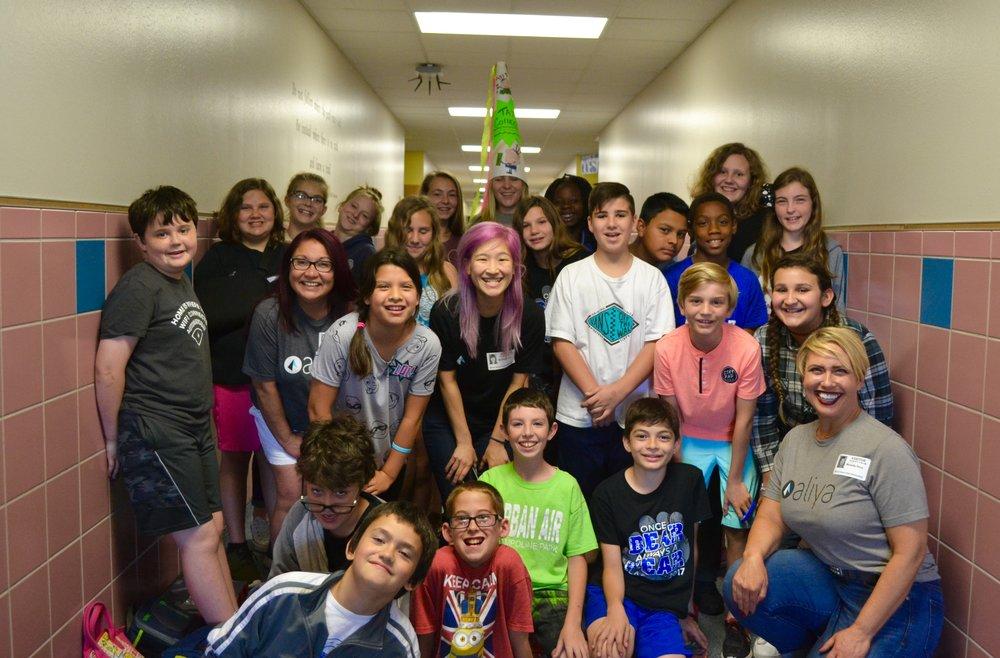 Aliya volunteers at Block House Creek Elementary School.