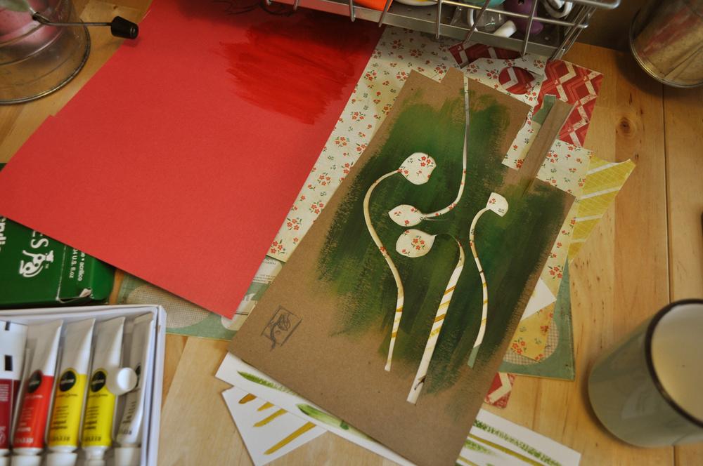 gracie klumpp kraft paper acrylics painting process