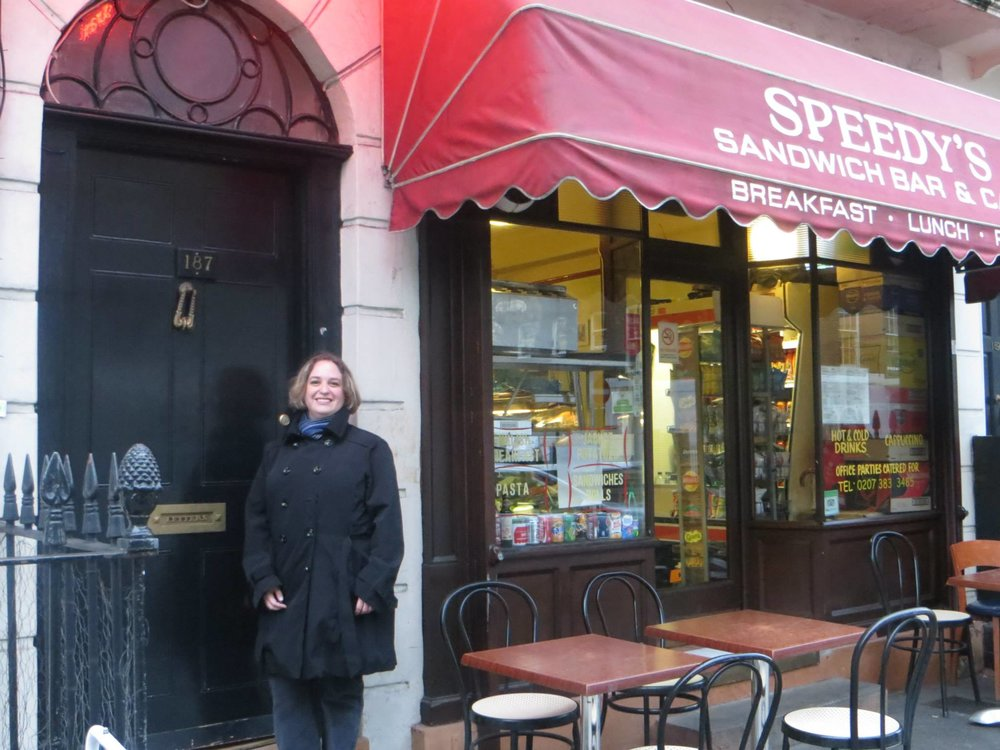 Outside Speedy's Cafe and BBC Sherlock's abode