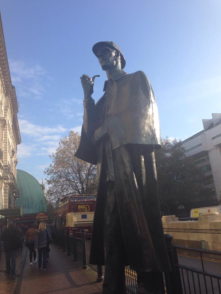 The statue of Sherlock Holmes on Marylebone Street near Baker Street station