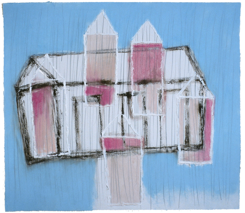 "Pink House  32"" x 36"" Pastel, pencil and charcoal on paper 2001"
