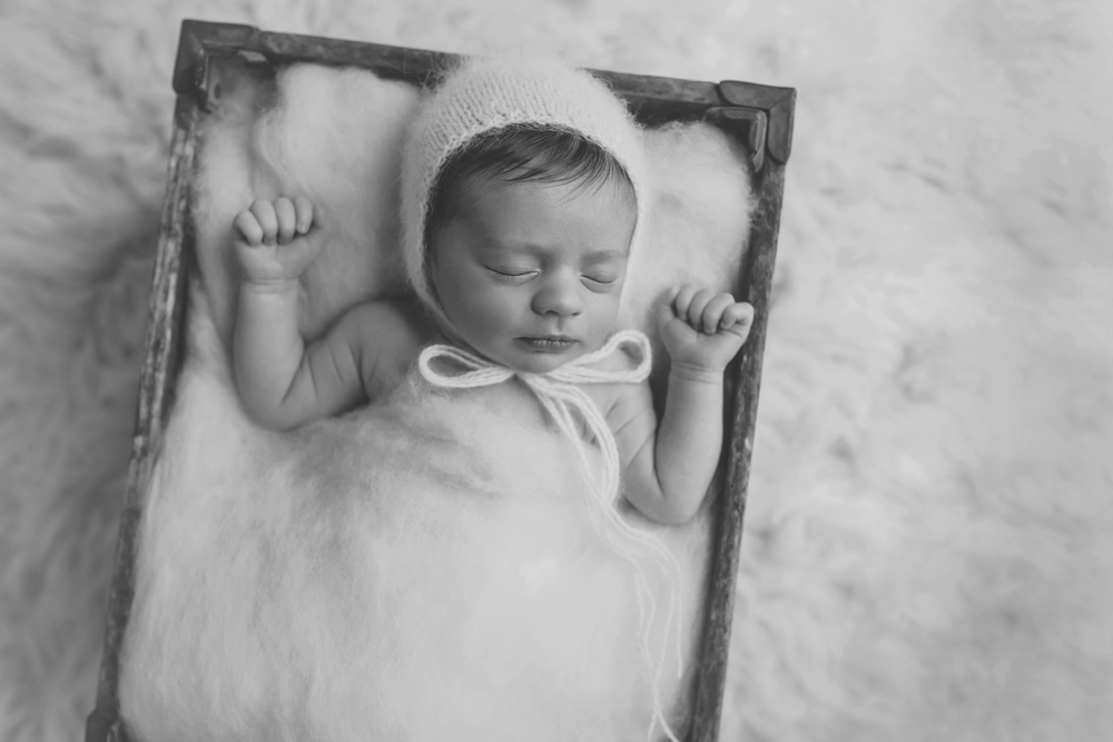 Baltimore Maryland Newborn baby photographer baby in crate