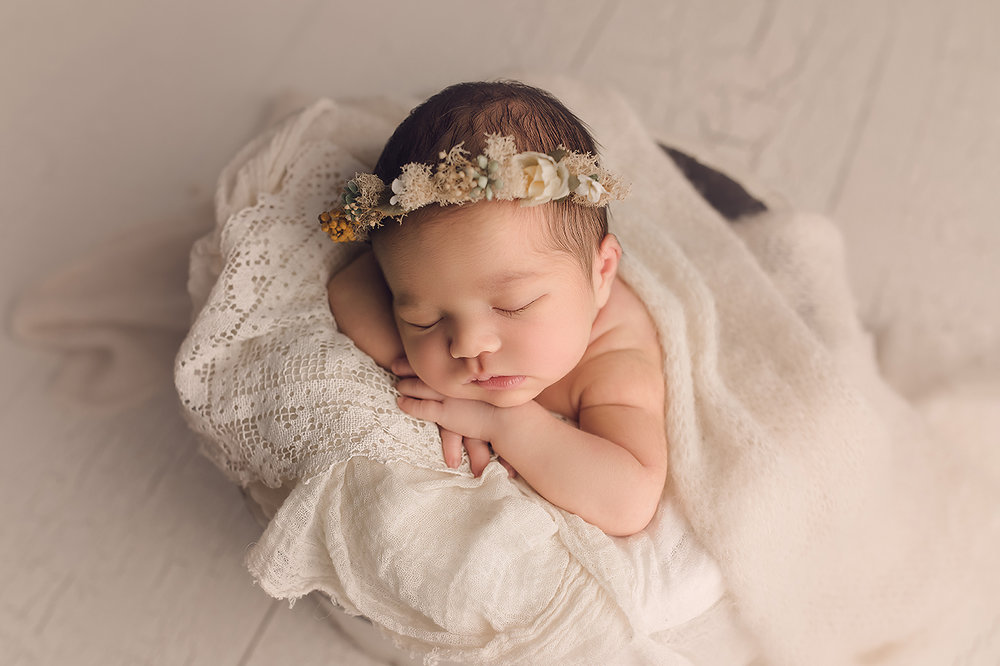 Baltimore Maryland Newborn Photographer Jessica Fenfert baby girl in cream basket