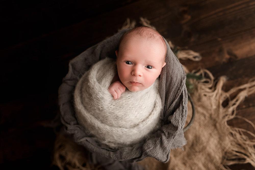 Baltimore Maryland Newborn Photgrapher Jessica Fenfert baby boy awake in a bucket