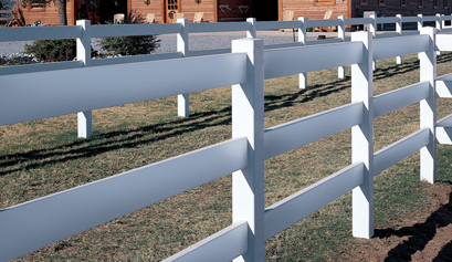 3-Rail Vinyl Post & Rail Fence