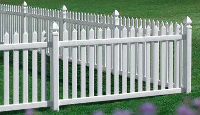 White Picket Vinyl Fence - Danbury