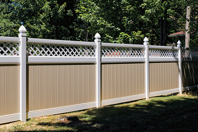 Lattice Accent with White Posts, Almond Pickets