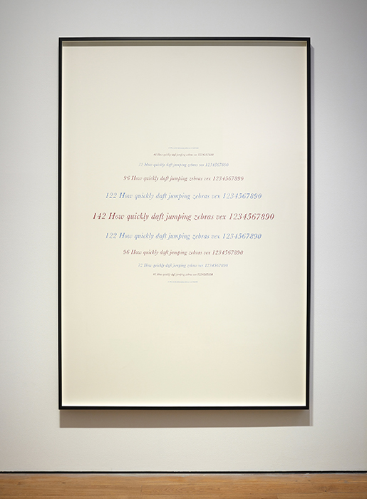 "Complete Poetry (Samuel Beckett),  2014    Lápiz de color, papel / Coloured pencil, paper    209 x 140 cm     *El texto tiene la misma área de color que la tinta usada para imprimir una edición del poema ""Complete Poetry"" de Samuel Beckett; el papel tiene la misma área que las páginas del libro / The text has the   same area of color as the ink used to print an edition of Samuel Beckett's poem ""Complete Poetry""; the paper has the same area of the pages of the book."