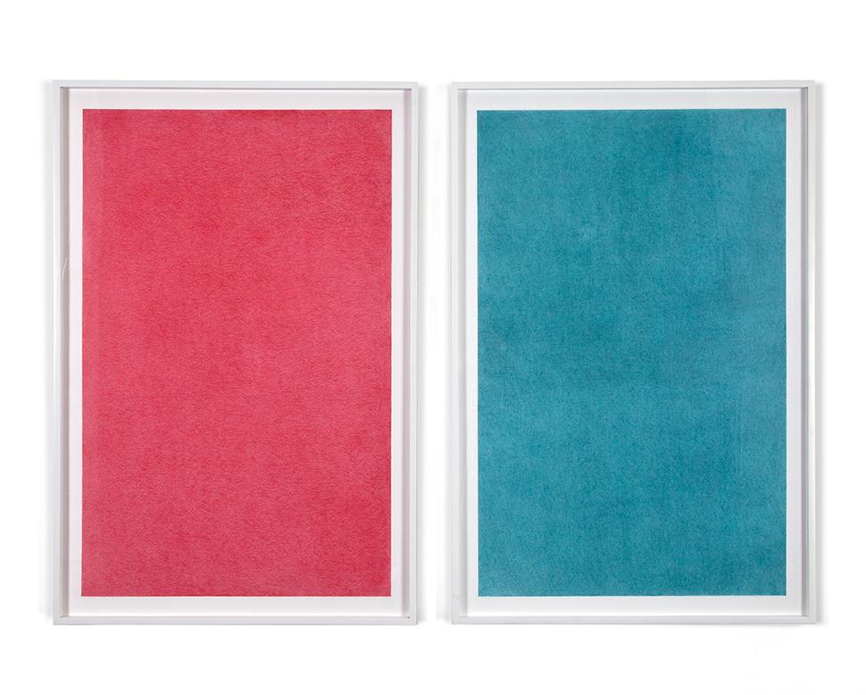 Volcán Ceboruco. Estudio de Color     /   Ceboruco Volcano. Color Study    ,     2012     Lápiz de color, papel/ Coloured pencil,paper    120 x 80 cm cada uno / each