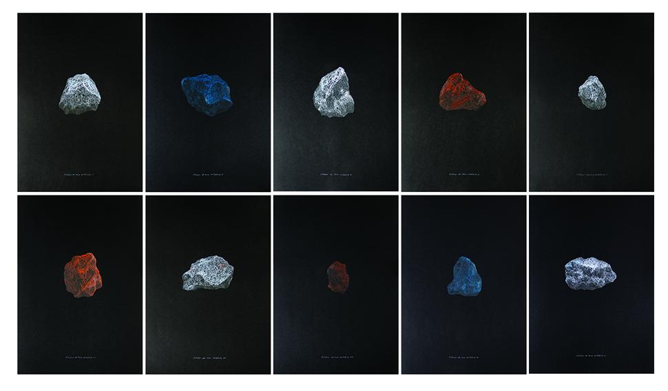 Volcán Ceboruco. Estudio de rocas volcánicas           /   Ceboruco Volcano. Volcanic Rocks Studies    , 2012    Lápiz de color,papel   / Coloured pencil,paper    Políptico de 10 dibujos de 50 x 35 cm cada uno / Polyptych of 10 drawings of 50 x 35 cm each