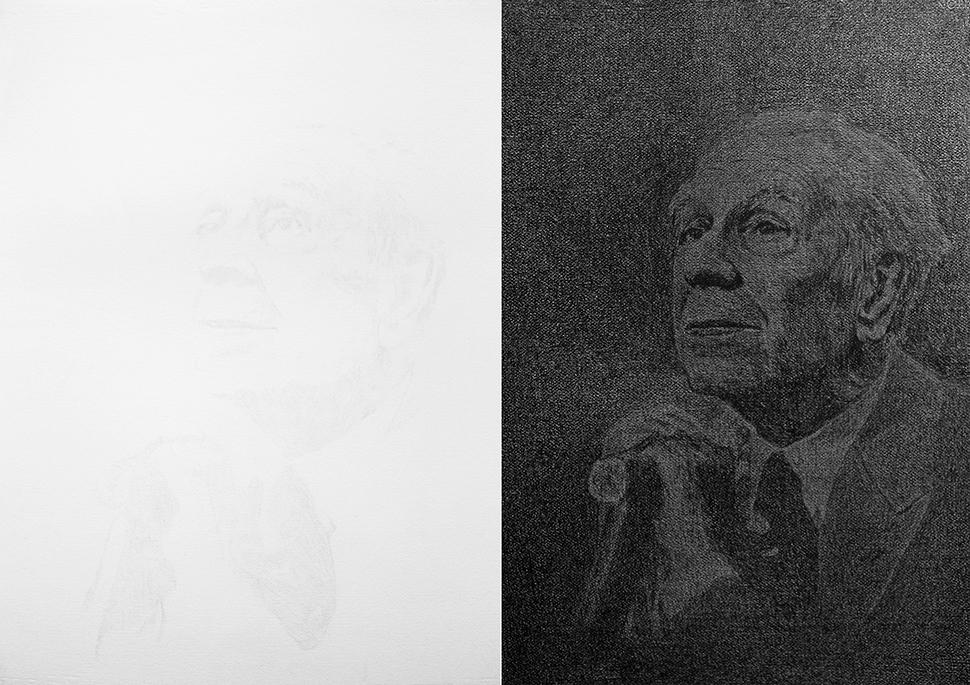 Borges Velado / Veiled Borges,     2012    Lápiz de color,papel / Coloured pencil,paper    Díptico de 70 x 50 cm cada uno / Diptych of 70 x 50 cm each