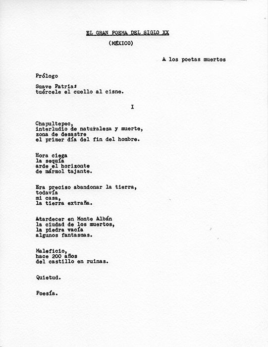 El gran poema del siglo XX (México)     /   The Great Poem of Twentieth-Century (México)    , 2015    Tinta sobre papel / Ink on paper    14 hojas de 28 × 21.5 cm cada una / 14 sheets of 28 x 21.5 cm each    Detalle / Detail