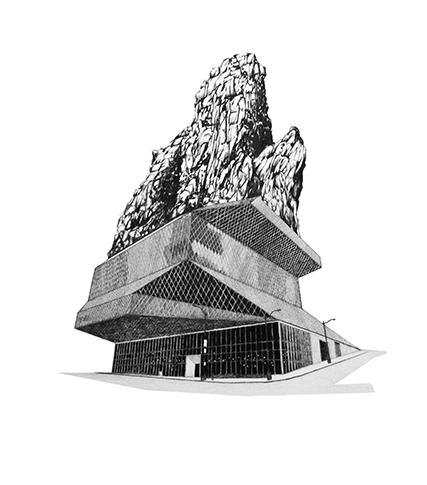 Proyecto para adición a la Biblioteca Central de Seattle     /        Project for Seattle Central Library Addition    , 2009    Lápiz,lápiz de color,papel / Pencil,coloured pencil,paper    100 x 70 cm