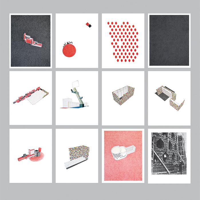 Proyecto para la biblioteca constructivista / Project for the Constructivist Library    , 2010    Lápiz de color,papel / Coloured pencil,paper    Políptico de 12 dibujos de 35 x 28 cm cada uno / Polyptych of 12 drawings of 35 x 28 cm each
