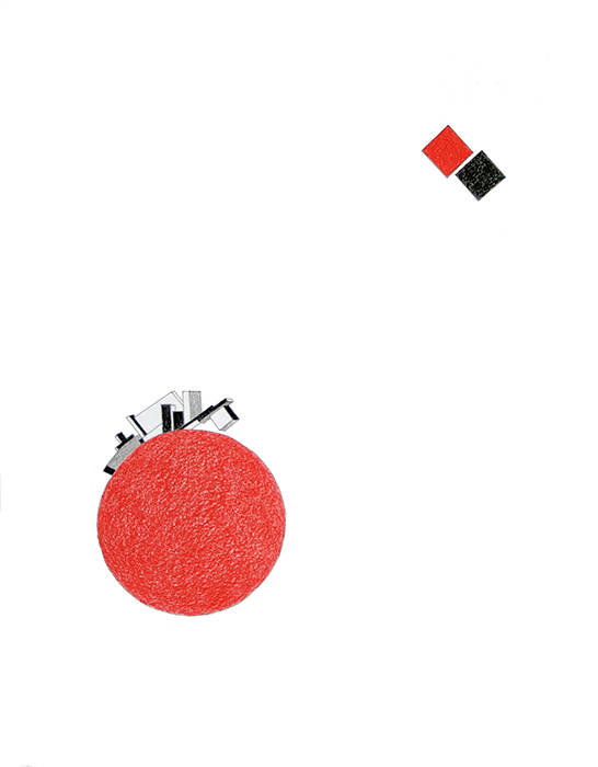 Proyecto para la biblioteca constructivista / Project for the Constructivist Library    , 2010    Lápiz de color sobre papel / Coloured pencil on paper    Políptico de 12 dibujos de 35 x 28 cm cada uno / Polyptych of 12 drawings of 35 x 28 cm each    Detalle / Detail