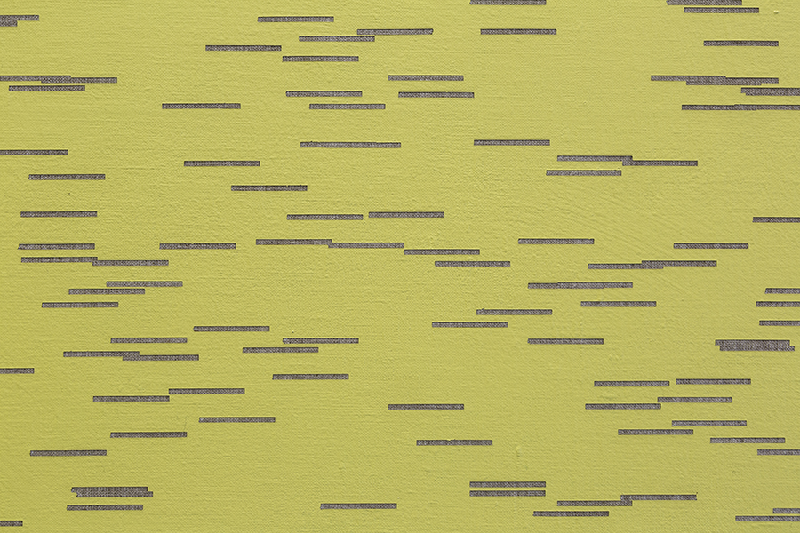 "Todos los guiones de Dickinson V (Poemas 531-1182)   /   All of Dickinson's Hyphens V (Poems 531-1182)  , 2016  Acrílico sobre lino / Acrylic on linen  320 x 240 cm  Detalle / Detail          96               Normal   0       21       false   false   false     ES-TRAD   X-NONE   X-NONE                                                                                                                                                                                                                                                                                                                                                                                                                                                                                                                                                                                                                                                                                                                                                                                                                                                                                  /* Style Definitions */ table.MsoNormalTable 	{mso-style-name:""Tabla normal""; 	mso-tstyle-rowband-size:0; 	mso-tstyle-colband-size:0; 	mso-style-noshow:yes; 	mso-style-priority:99; 	mso-style-parent:""""; 	mso-padding-alt:0cm 5.4pt 0cm 5.4pt; 	mso-para-margin:0cm; 	mso-para-margin-bottom:.0001pt; 	mso-pagination:widow-orphan; 	font-size:12.0pt; 	font-family:Calibri; 	mso-ascii-font-family:Calibri; 	mso-ascii-theme-font:minor-latin; 	mso-hansi-font-family:Calibri; 	mso-hansi-theme-font:minor-latin; 	mso-fareast-language:EN-US;}        *De manera atípica para su tiempo, Emily Dickinson utilizaba frecuentemente guiones con los que reemplazaba la puntuación regular. Para la construcción de estas pinturas se utilizaron los guiones de toda su escritura, divididos en seis paneles. La paleta de colores proviene de diferentes ediciones de sus libros / Atypically for her time, Emily Dickinson frequently used hyphens which replaced the regular punctuation. For the construction of these paintings all such hyphens are used based on her writing and they are divided into six panels. The color palette comes from different editions of his books."