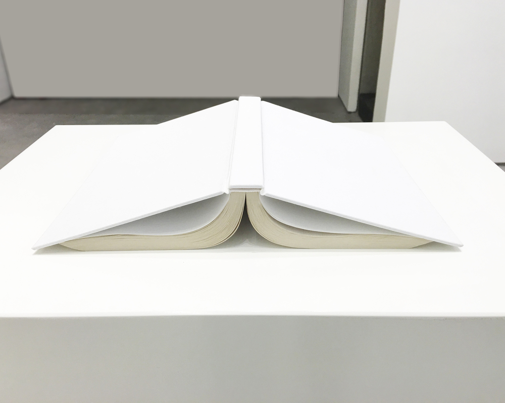 Vita activa / Vita contemplativa (Emily Dickinson)  , 2016  Libro de Emily Dickinson empastado, madera, laca / Emily Dickinson´s book, cover, wood, lacquer  110 x 45 x 33 cm