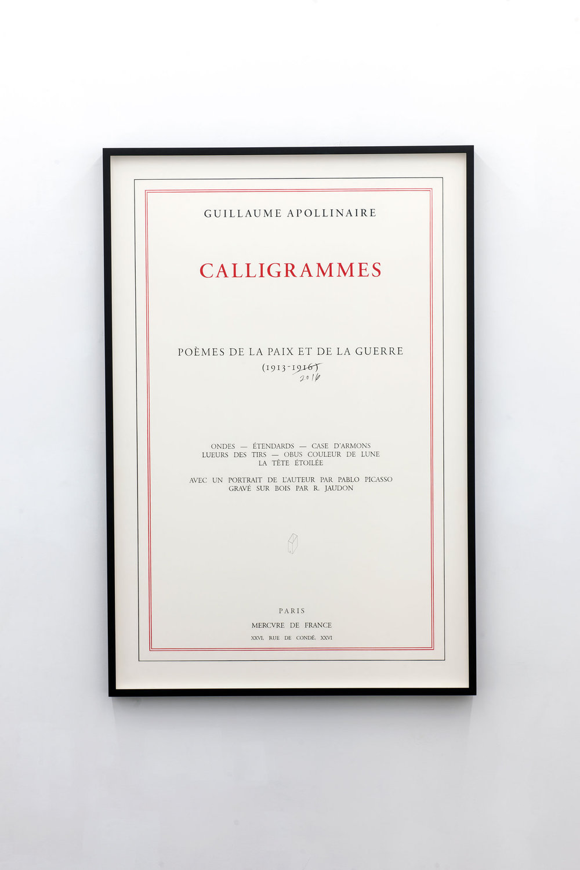 Calligrammes. Poèmes de la paix et de la guerre 1913 - 2016,   2016  Lápiz y lápiz de color sobre papel de algodón / Pencil and colored pencil on cotton paper  150 x 100 cm