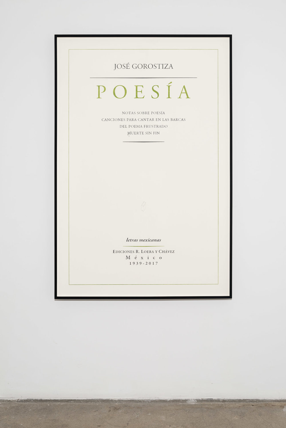 José Gorostiza. Poesía. 1939 – 2017 / José Gorostiza. Poetry. 1939 - 2017  , 2017  Lápiz y lápiz de color sobre papel de algodón / Pencil and colored pencil on cotton paper  150 x 100 cm