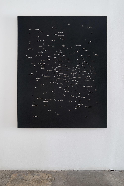 Desmantelando a Gorostiza (Notas sobre poesía. Prólogo) / Dismantling Gorostiza (Notas sobre poesía. Prólogo),   2017  Acrílico sobre lino / Acrylic on linen  121.7 x 152.3 cm