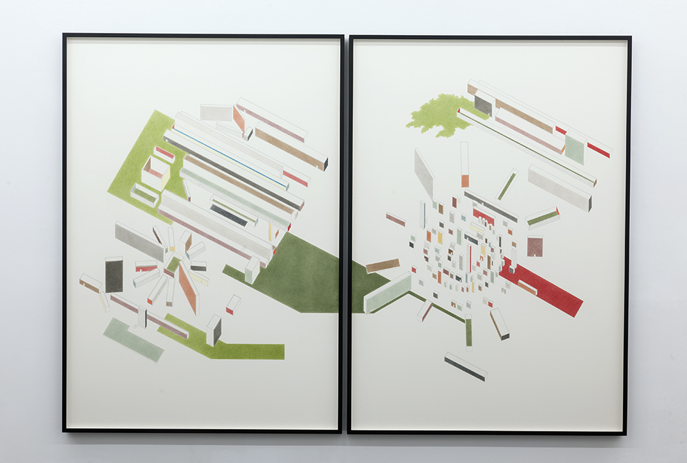 Lettre-ocean (Guillaume Apollinaire) ,  2017  Lápiz y lápiz de color sobre papel / Pencil and coloured pencil on paper  Díptico / Diptych 200 x 139,5 cm (cada uno / each)