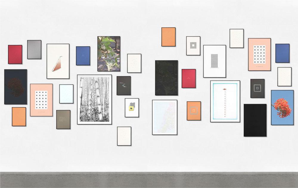 Ensayo sobre la contemplación / An Essay on Contemplation ,  2018  Inyección de tinta, tinta, lápiz y lápiz de color sobre papel / Inkjet prints, ink, pencil and coloured pencil on paper