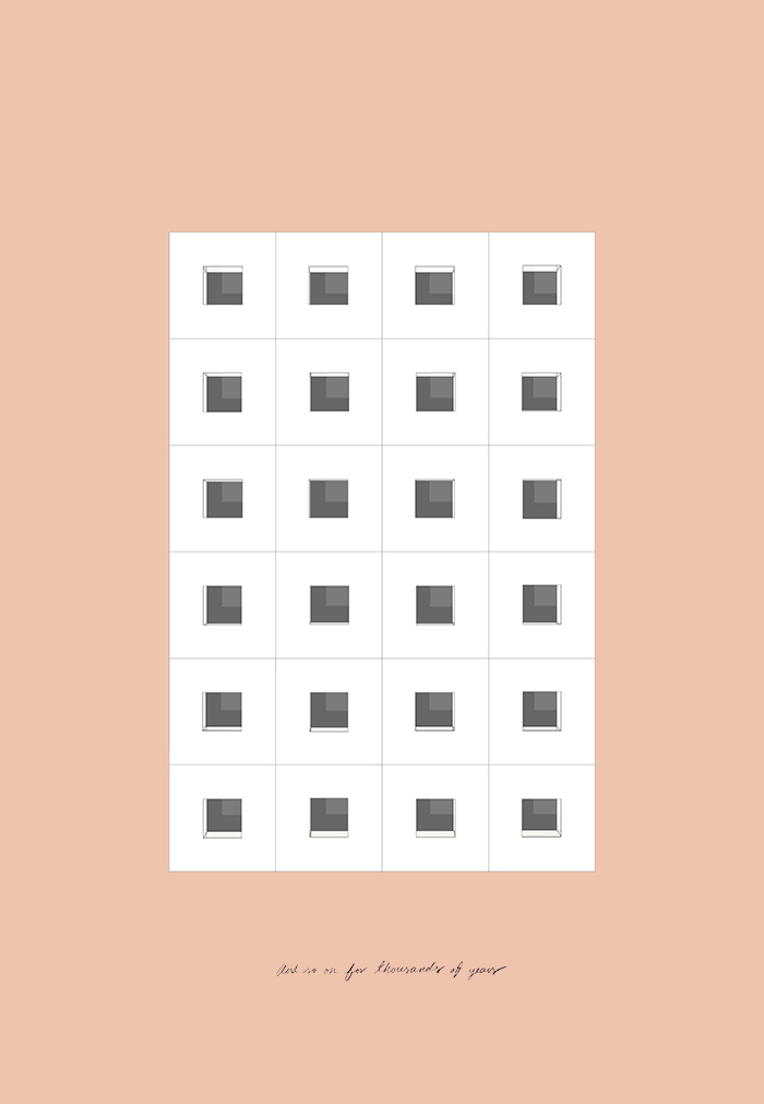 Ensayo sobre la contemplación / An Essay on Contemplation  , 2018  Inyección de tinta,lápiz de color sobre papel / Inkjet prints, coloured pencil on paper  65 x 45 cm