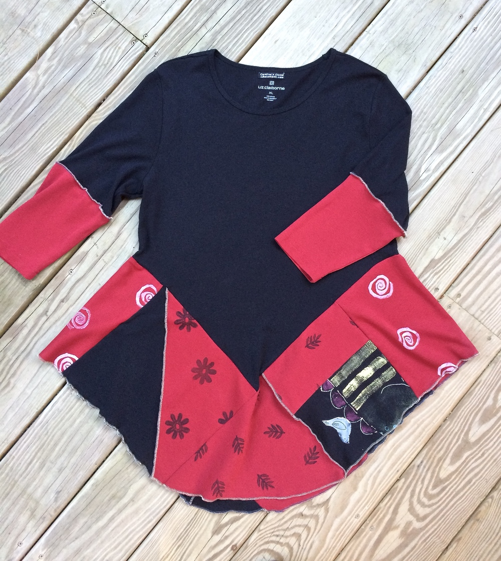 red and black tunic (sold) text me for what's new