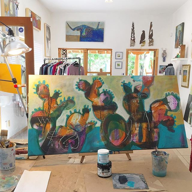 Last weekends demo will get final touches .. #studiotour #cacti #painting #contemporaryart #abstractart #stilllife #desertplants #corrales #artforsale #studiotour #livepaint #delrioplaza #abqarts #buylocal #interiordesign #officedesign #redpaintstudio www.redpaintstudio.com