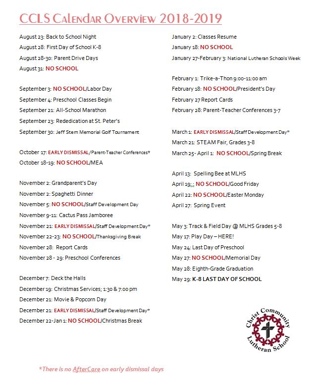 2018 2019 School Calendar Christ Community