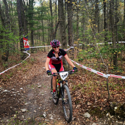 Me rolling into the finish; photo credit to Lindsey