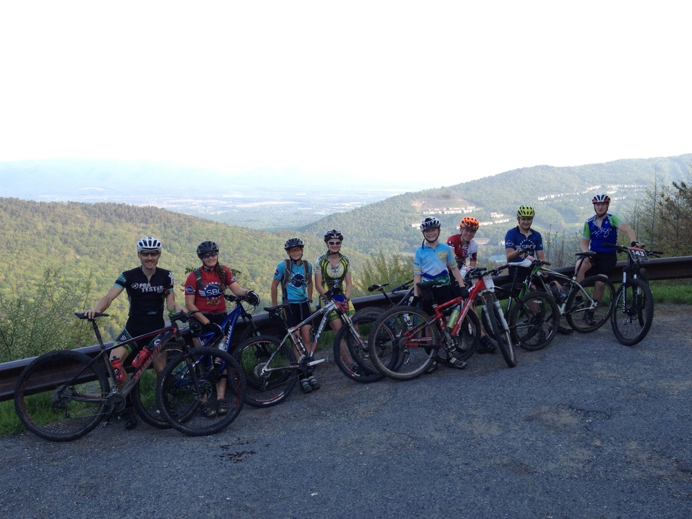 Some of the Rocktown Racing Youth Team on the Overlook at Massanutten Western Slope