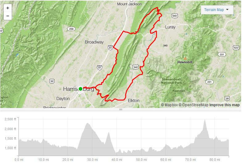 East Side of Massanutten - 85.8 miles8,257ft elevationDecent gravel climbs w/steep grades
